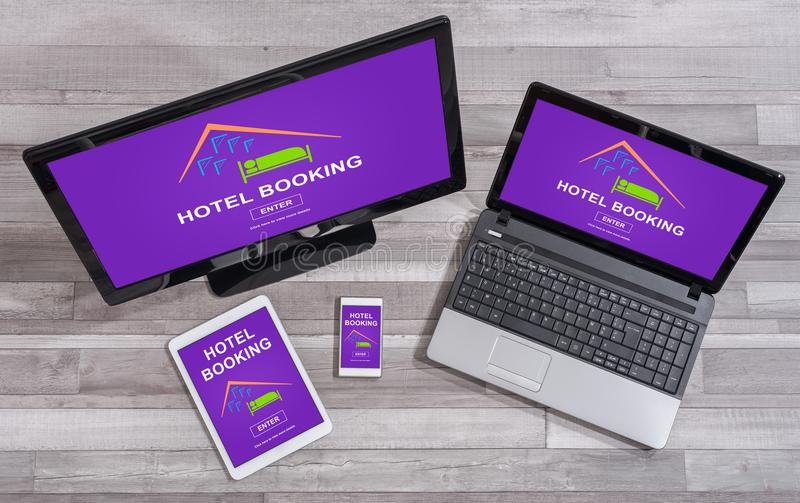 Hotel booking concept on different devices. Hotel booking concept shown on different information technology devices royalty free stock photography