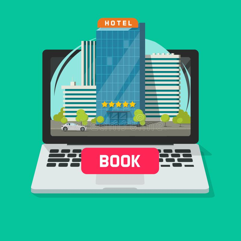 Hotel booking online using computer vector illustration, flat cartoon laptop with city hotel and book button on display stock illustration