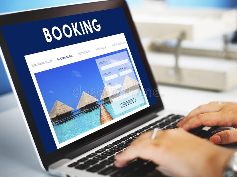 Hotel Booking Reservation Travel Reception Concept stock photo