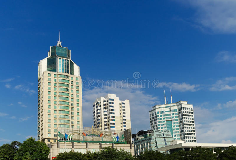 Hotel building. Modern totel ,blue sky background stock photography