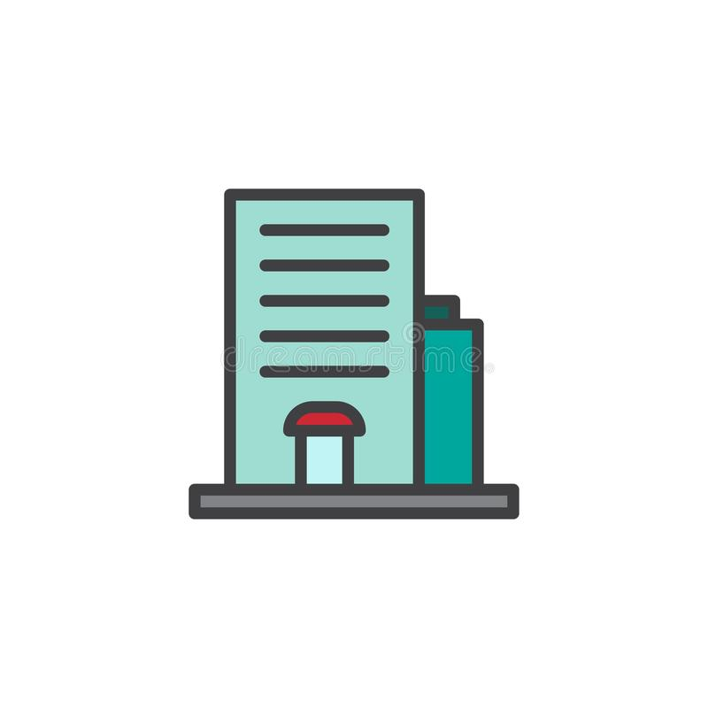 Hotel building filled outline icon royalty free illustration