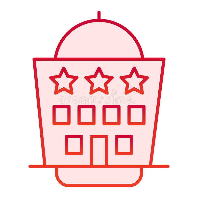 Hotel building flat icon. Architecture red icons in trendy flat style. Hotel house with three stars gradient style royalty free illustration