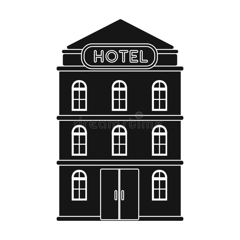 Download Hotel Building Icon In Black Style Isolated On White Background Rest And Travel Symbol