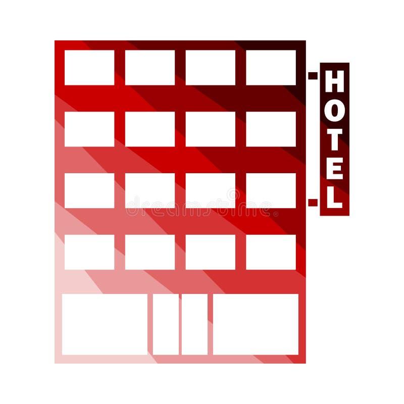 Hotel Building Icon. Flat Color Ladder Design. Vector Illustration vector illustration