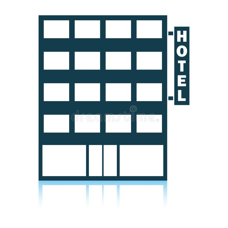 Hotel building icon. Shadow reflection design. Vector illustration royalty free illustration