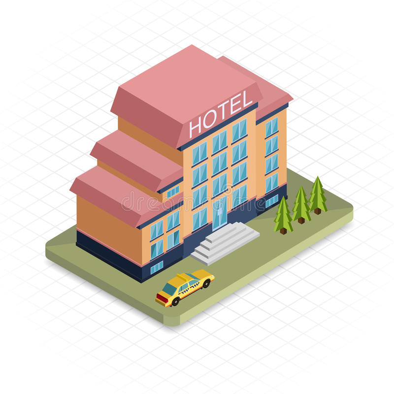 Hotel Building. Isometric 3d Pixel Design Icon Stock