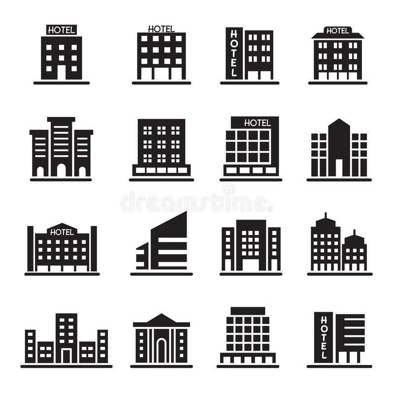 Hotel Building, Office tower, Building icons set illustration. Hotel Building, Office tower, Building icons set Vector Illustration Graphic Design Symbol vector illustration
