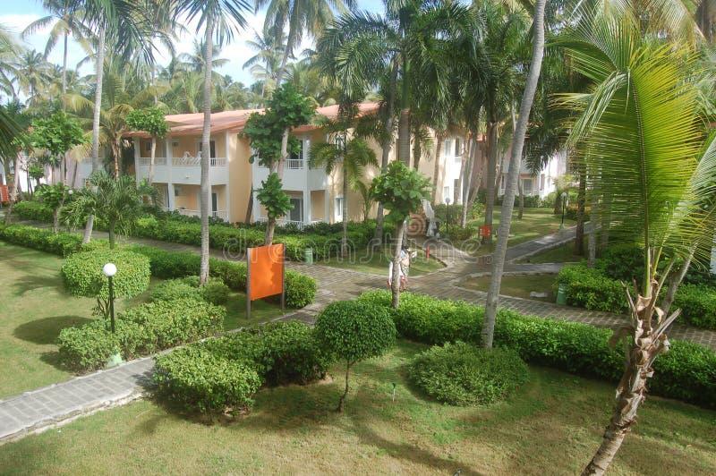 Hotel in Dominican Republic. Hotel bungalow houses in Dominican Republic royalty free stock photo