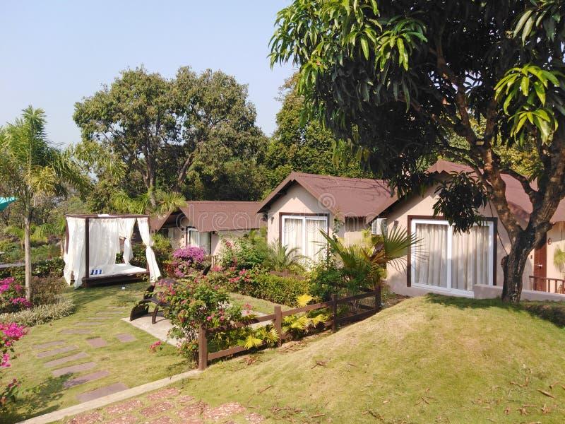 Hotel bungalows and spa, Goa, India. Stone Wood resort and spa hotel in Mandrem-Ashvem area, Pernem road, Goa, India stock image