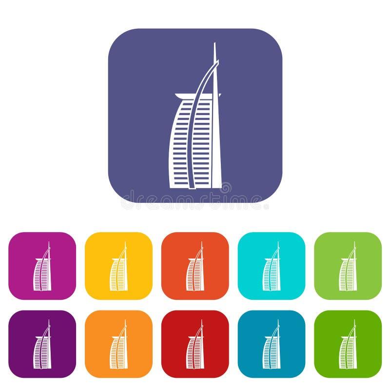 Hotel Burj Al Arab in de Verenigde Arabische geplaatste pictogrammen van Emiraten vector illustratie
