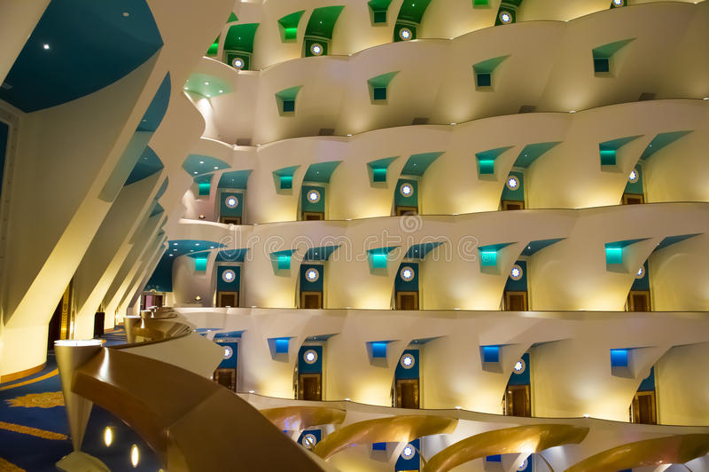 Hotel Burj Al Arab - interno fotografia stock libera da diritti