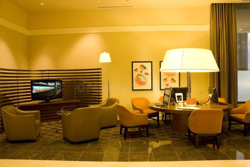 Hotel business center stock photo