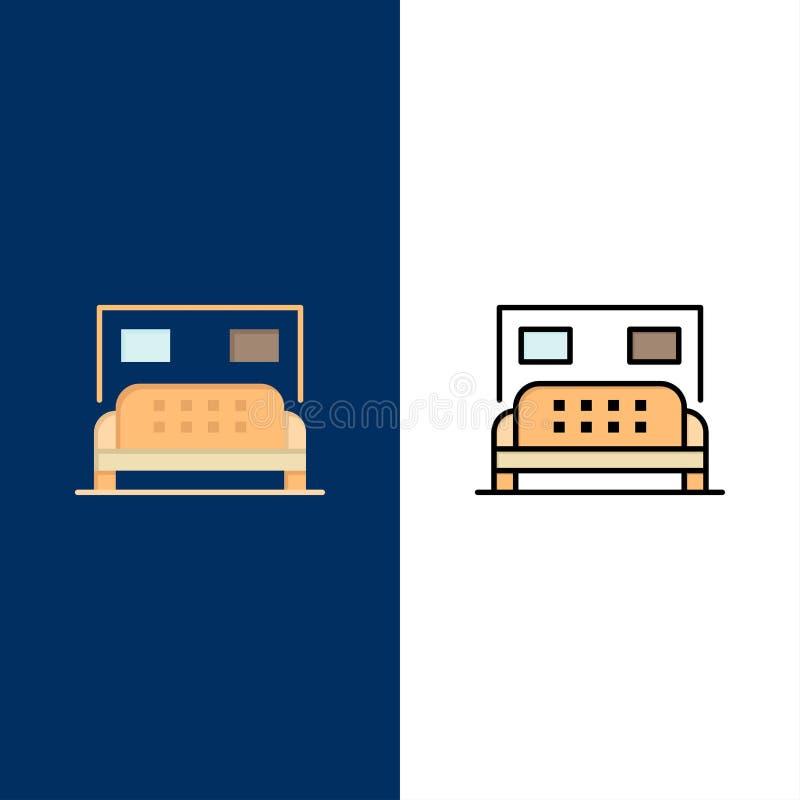 Hotel, cama, quarto, ícones do serviço O plano e a linha ícone enchido ajustaram o fundo azul do vetor ilustração stock