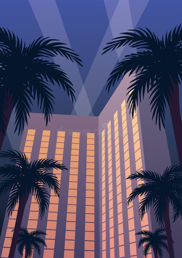 Hotel Casino Resort Night stock illustration