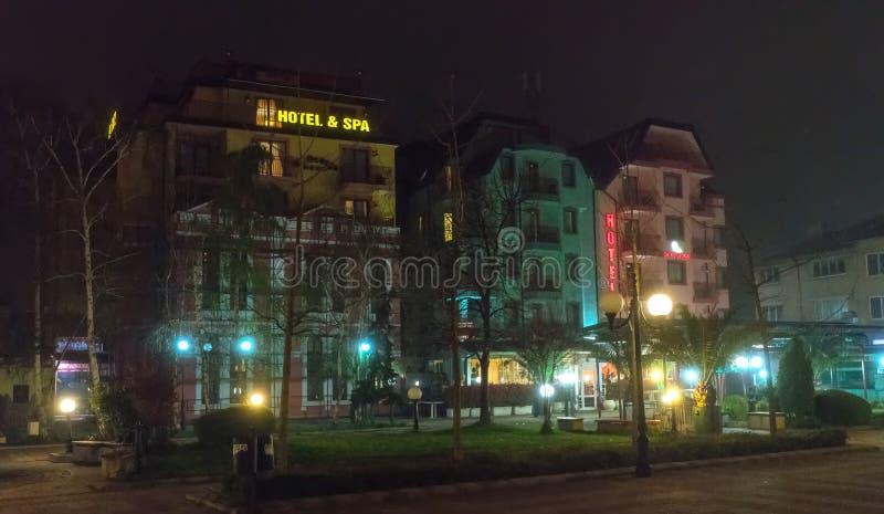 Hotel in the center of night Pomorie in Bulgaria stock photo