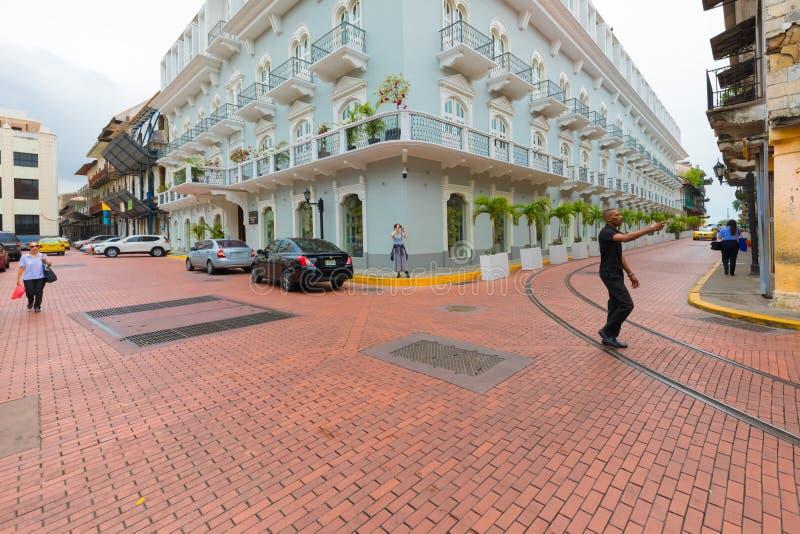 Hotel central Casco Viejo ciudad de Panamá imagenes de archivo