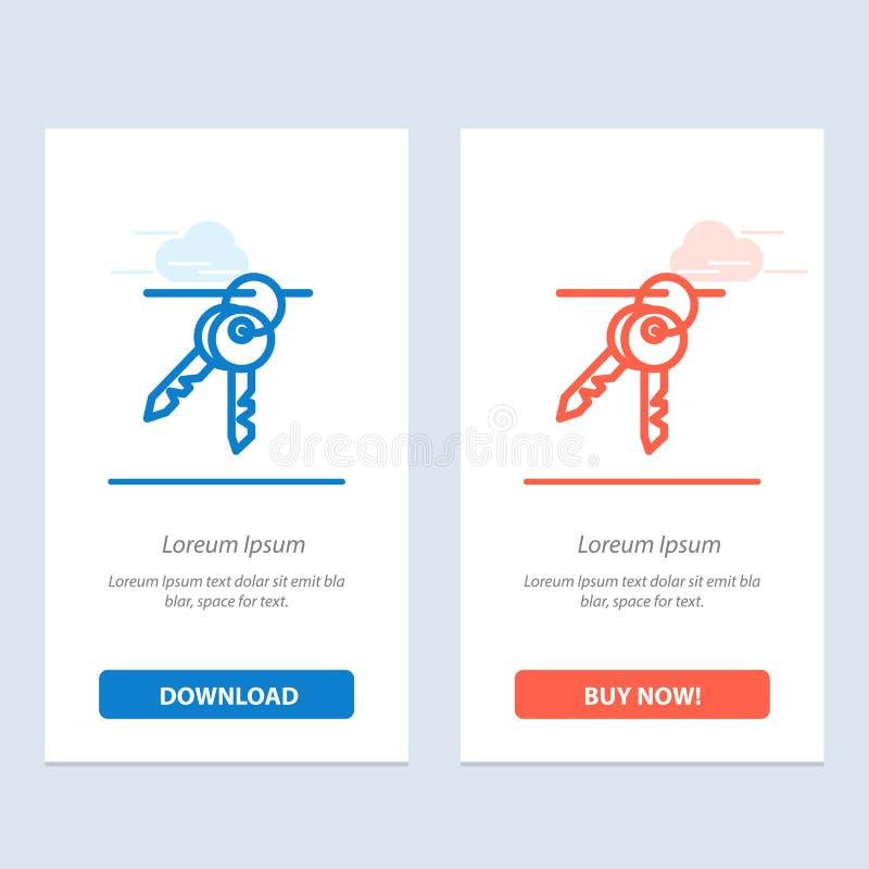 Hotel, chiave, stanza, chiavi blu e download rosso ed ora comprare il modello della carta del widget di web illustrazione di stock