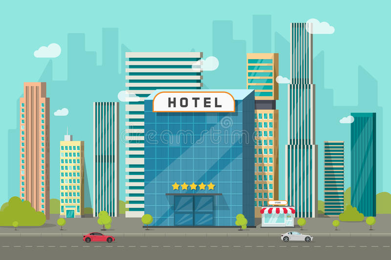 Hotel in the city view vector illustration, flat cartoon hotel building on street road and big skyscraper town landscape. Font view cityscape panorama clipart