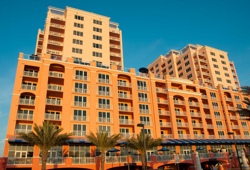 Hotel at Clearwater Beach Florida. Hotel in front of Clearwater Beach Florida royalty free stock image