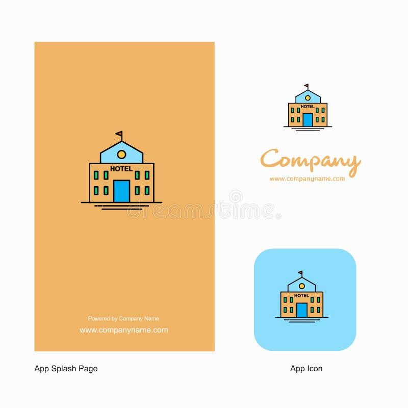 Hotel Company Logo App Icon y diseño de la página del chapoteo Elementos creativos del diseño del App del negocio stock de ilustración