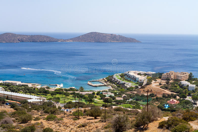 Hotel complex in Crete by the sea royalty free stock photo