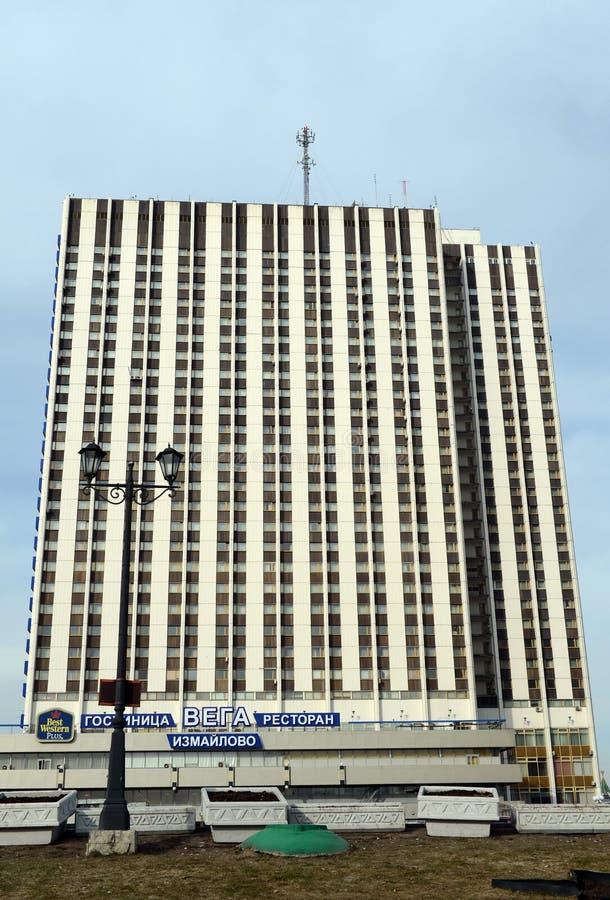 The hotel complex `Izmailovo`, building `VEGA`. MOSCOW, RUSSIA - MARCH 12, 2017:The hotel complex `Izmailovo`, building `VEGA royalty free stock image
