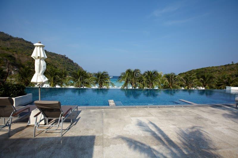 Hotel con i bungalow, palme sulla spiaggia, immagini stock libere da diritti