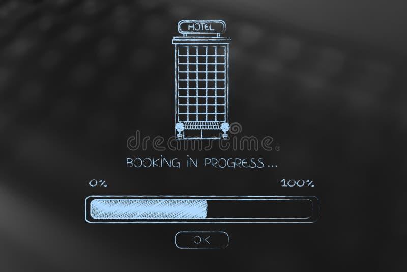 Hotel con la reservación del cargamento en curso ilustración del vector