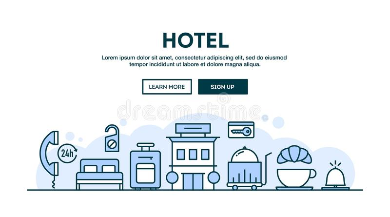 Hotel, concept header, flat design thin line style royalty free illustration