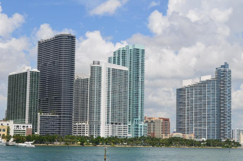 Hotel and Condominiums Overlooking the Intracoastal Waterway. Hotels and condominiums overlooking the Florida Intracoastal Waterway in Miami,Florida viewed from stock photo