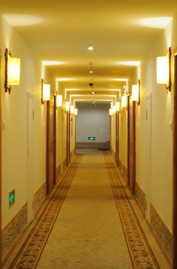 Hotel corridor. With light,nobody royalty free stock image