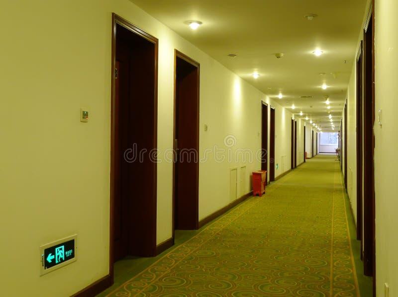 Hotel corridor. With light,nobody stock photography