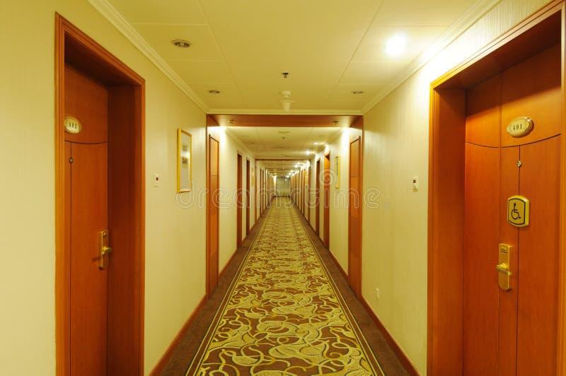 Hotel corridor. With light,nobody stock photos