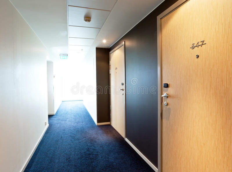 Hotel corridor. With bright light from a window royalty free stock photo