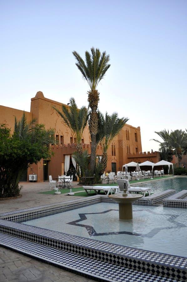 Hotel courtyard,Ouarzazate stock photos