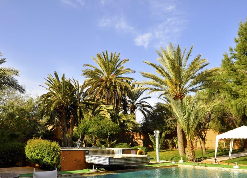 Hotel courtyard,Ouarzazate royalty free stock photos