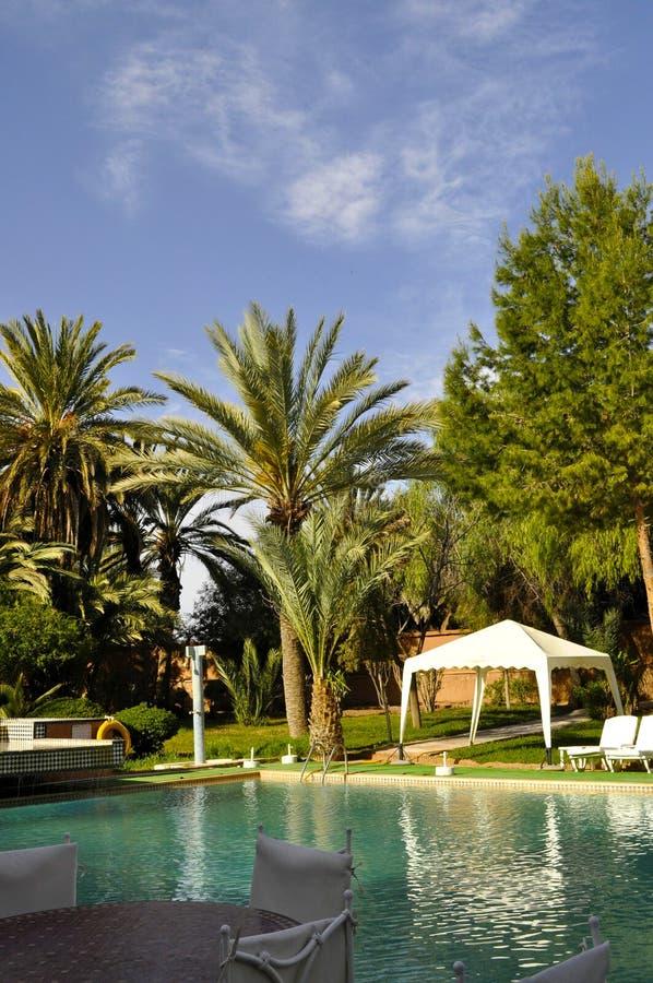 Hotel courtyard,Ouarzazate stock images