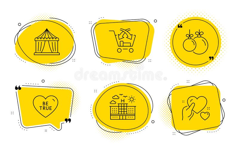 Hotel, Cross sell and Be true icons set. Circus tent, Christmas ball and Hold heart signs. Vector stock illustration