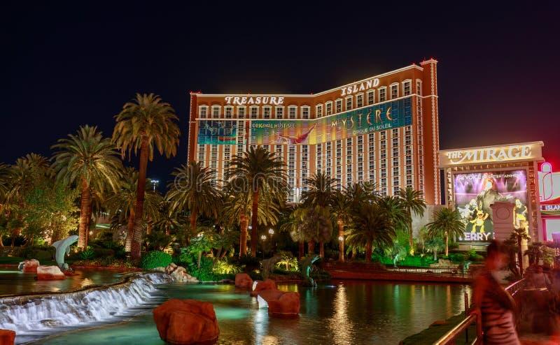 Hotel da ilha do tesouro e casino, Las Vegas Blvd imagens de stock royalty free