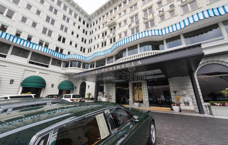 Hotel da península com as rolls royce em Hong Kong fotografia de stock royalty free