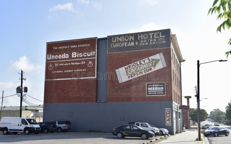 Hotel da união, meridiano, Mississippi imagem de stock