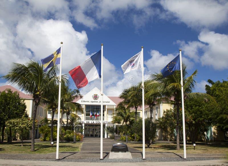 Hotel DE La Collective, vroeger Stadhuis bij St Baronets, de Franse Antillen royalty-vrije stock afbeelding