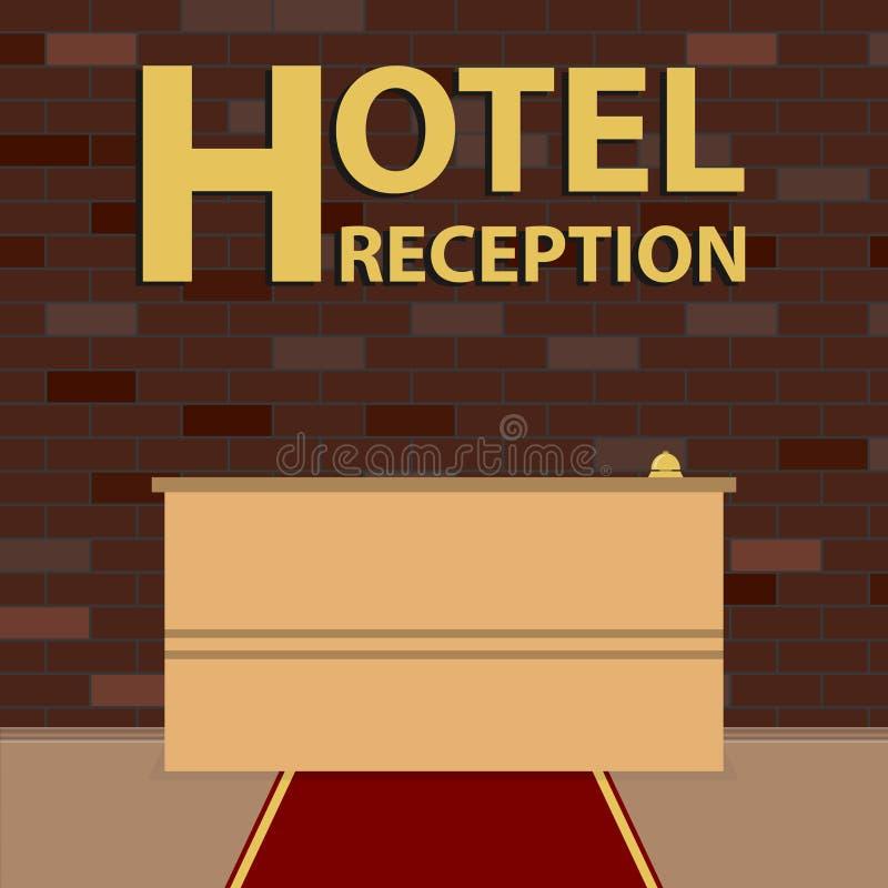 Hotel de la recepción Mostrador de recepción delante de la pared de ladrillo La alfombra roja ilustración del vector