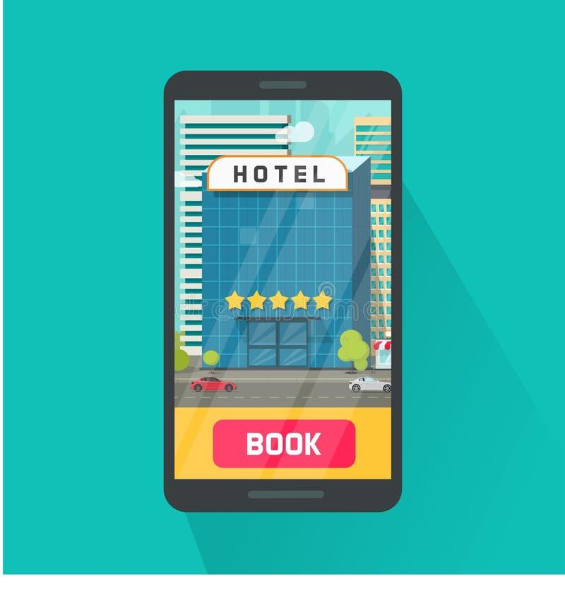 Hotel de la reservación vía el ejemplo del vector del teléfono móvil, smartphone plano con el hotel de 5 estrellas en ciudad en l stock de ilustración