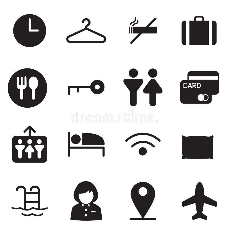 Hotel de la silueta, parador, iconos del motel ilustración del vector