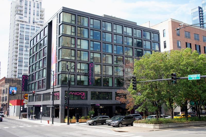 Hotel de Moxy, Chicago Illinois imagens de stock