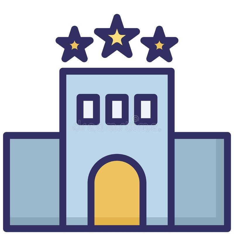 Hotel de tres estrellas, icono aislado motel del vector que puede ser fácilmente corregir o se modificó ilustración del vector