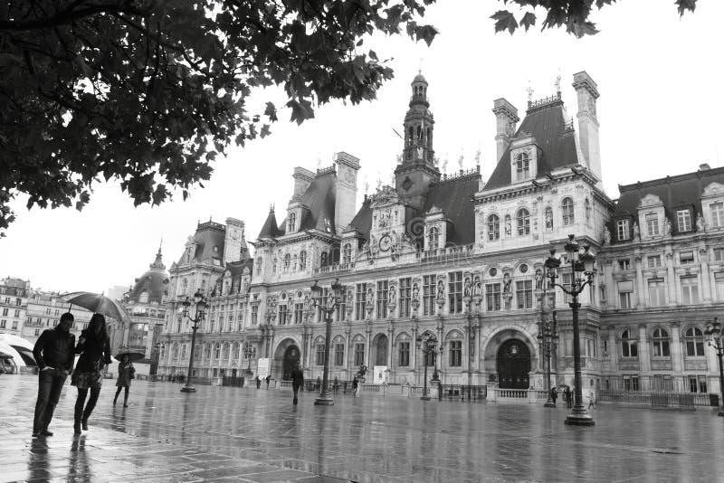Hotel de Ville à Paris, France, l'Europe au prier images libres de droits