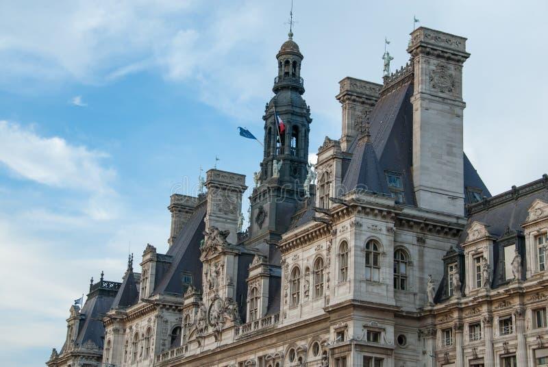 Hotel de Ville, the ancient City Hall of Paris stock photo