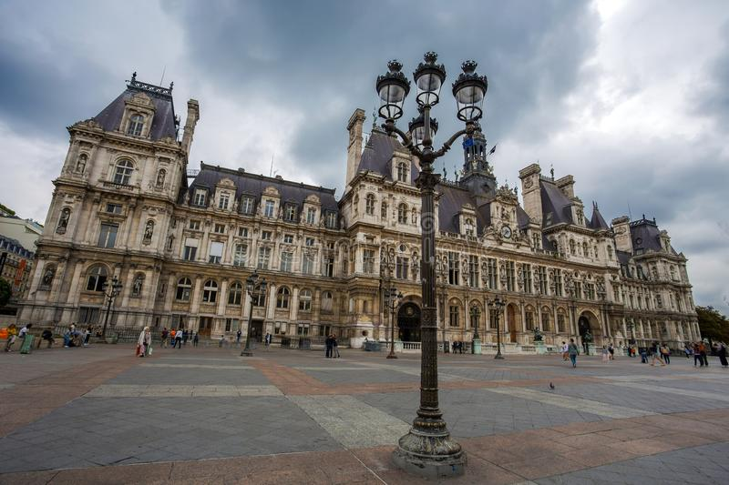 The Hotel de Ville, City Hall of Paris, France. This building is housing the City of Paris`s administration stock image